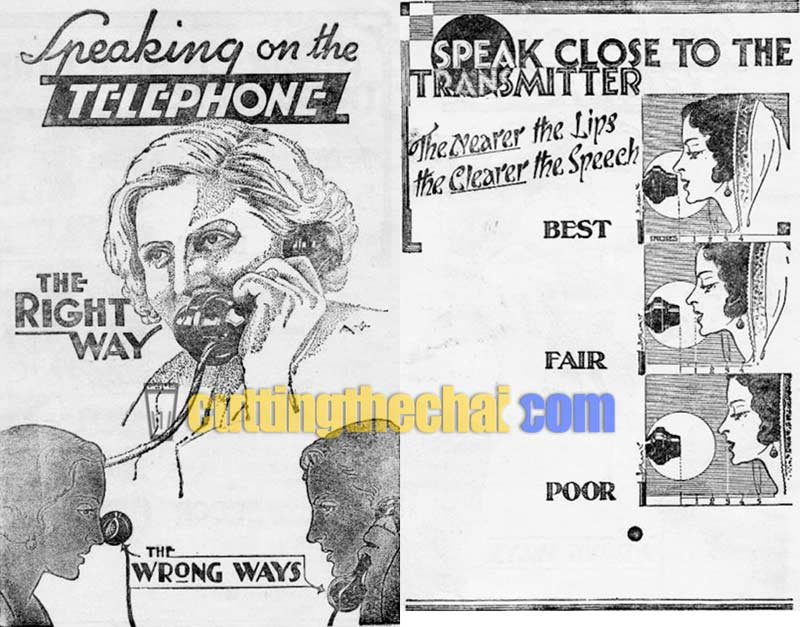 Speaking on the telephone, the right way. Speak close to the transmitter. The nearer the lips, the clearer the speech.