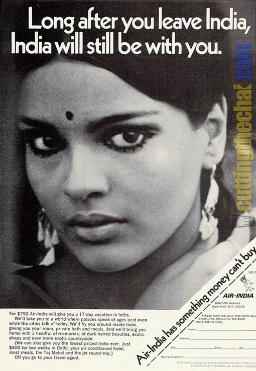 Zeenat Aman in a 1970 Air-India advertisement