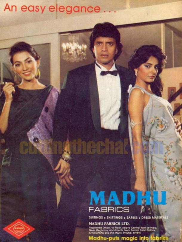 Mithun Chakraborty and Kitu Gidwani in an advertisement for Madhu Fabrics