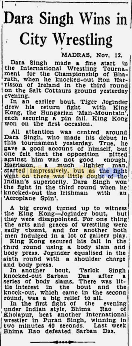 Newspaper clipping of Dara Singh's wrestling bout