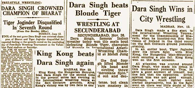 Dara Singh Beats Blonde Tiger 60-Year-Old News Clippings From The Late Wrestlers Heyday-3003